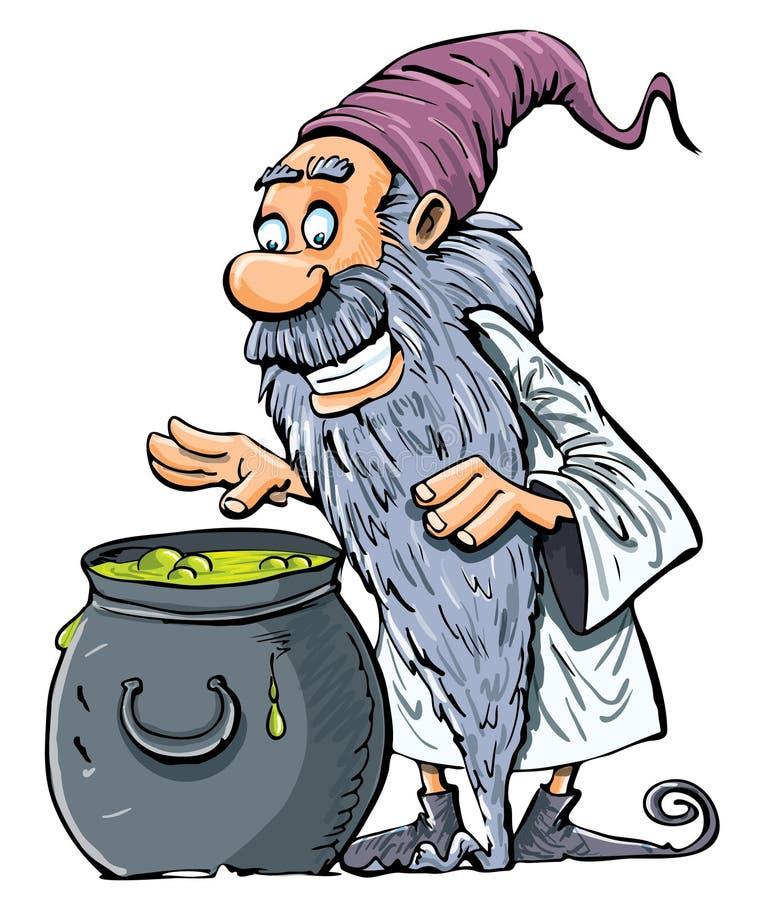 wrzący kreskówki kotła czarownik royalty ilustracja
