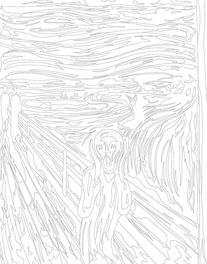 Wrzask 1893 Edvard Chrupie dorosłą kolorystyki stronę ilustracji