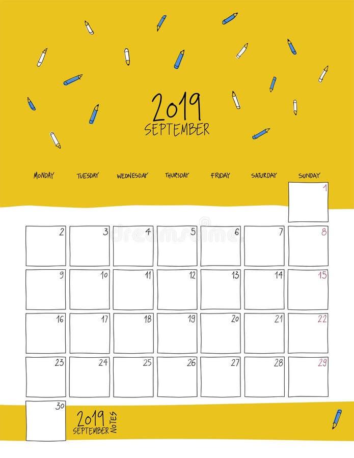 Września 2019 ścienny kalendarz Doodle styl ilustracji