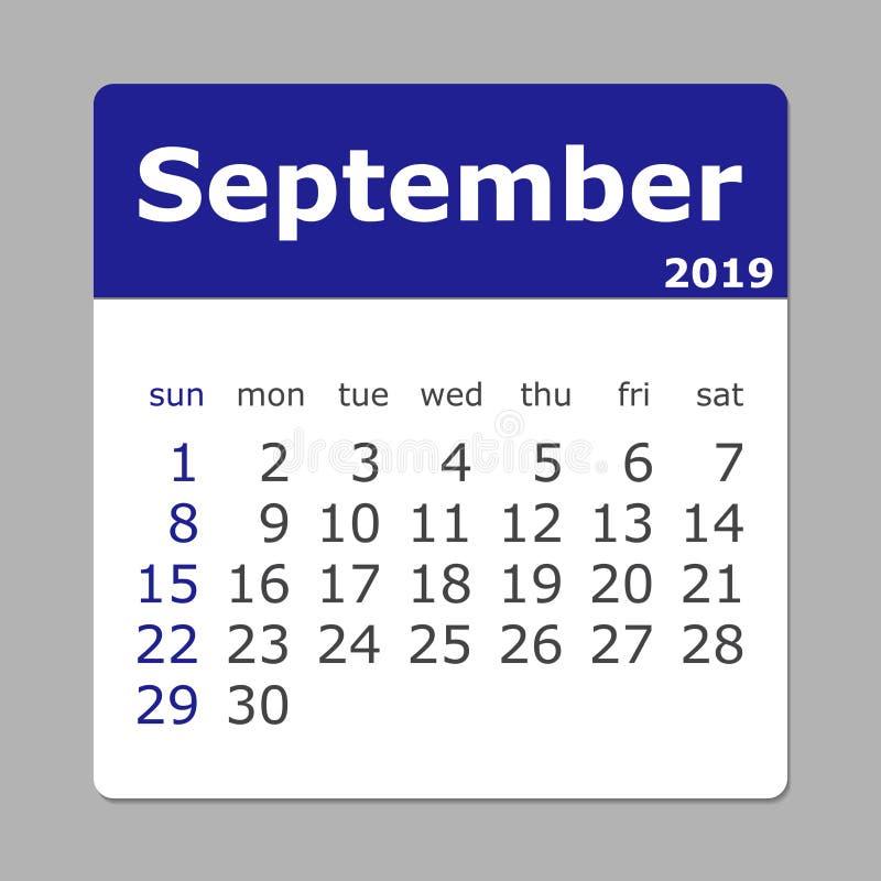 Września 2019 kalendarz Tydzień Zaczyna Niedziela ilustracja wektor