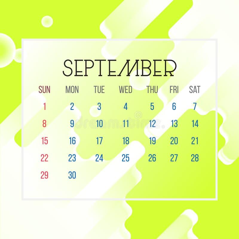 Września 2019 Kalendarzowy liść - ilustracja Wektorowej grafiki strona z abstrakcjonistycznego tła żółtym kolorem ilustracja wektor