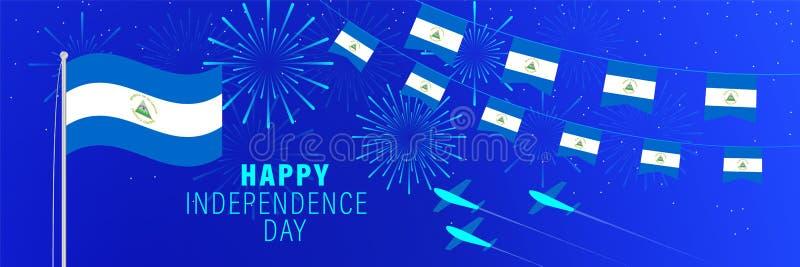 Września15 Nikaragua dnia niepodległości kartka z pozdrowieniami Świętowania tło z fajerwerkami, flagami, flagpole i tekstem, ilustracja wektor