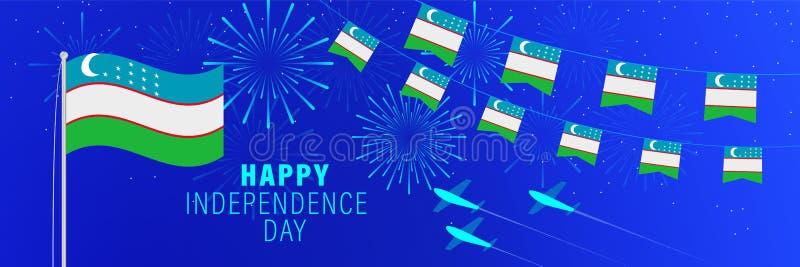 Września1 Uzbekistan dnia niepodległości kartka z pozdrowieniami Świętowania tło z fajerwerkami, flagami, flagpole i tekstem, ilustracja wektor