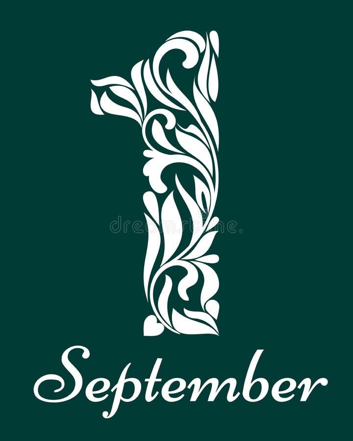 1 Wrzesień Eleganckie dekoracyjne chrzcielnicy Ozdobna dekorująca cyfra pięć na zielonym tle ilustracji