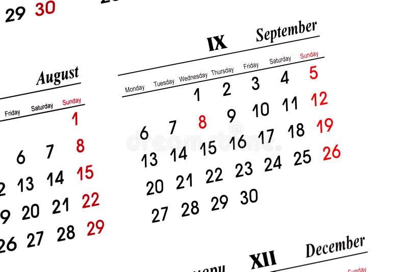 Wrzesień kalendarzowego zdjęcia royalty free