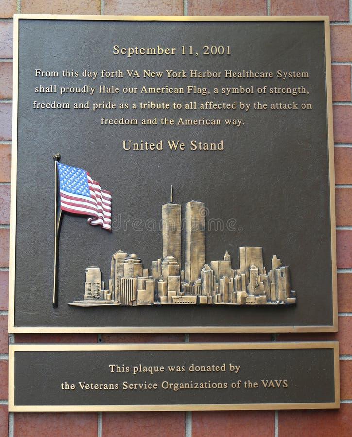 Wrzesień 11, 2001 Pamiątkowa plakieta zdjęcia royalty free