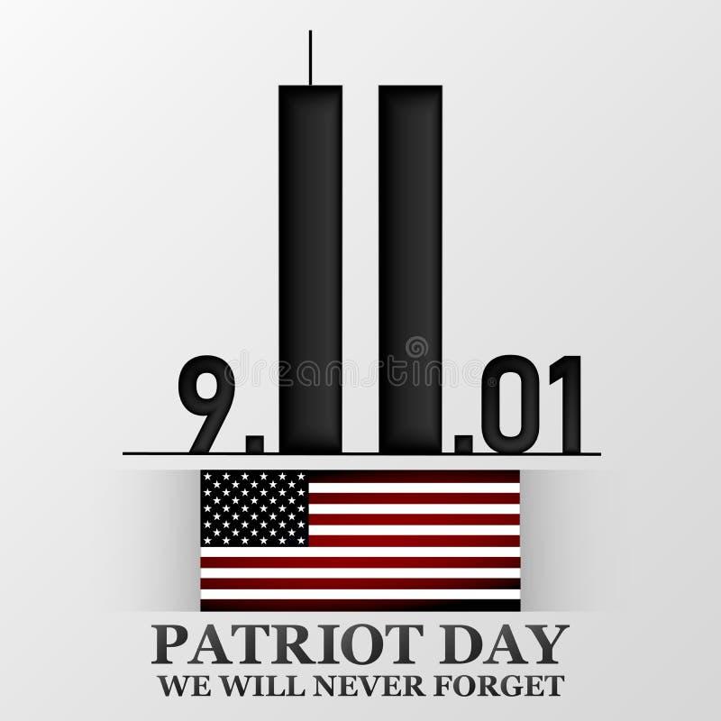 11 Wrzesień Patriota dzień Projekt dla pocztówki, ulotka, plakat, sztandar również zwrócić corel ilustracji wektora ilustracji