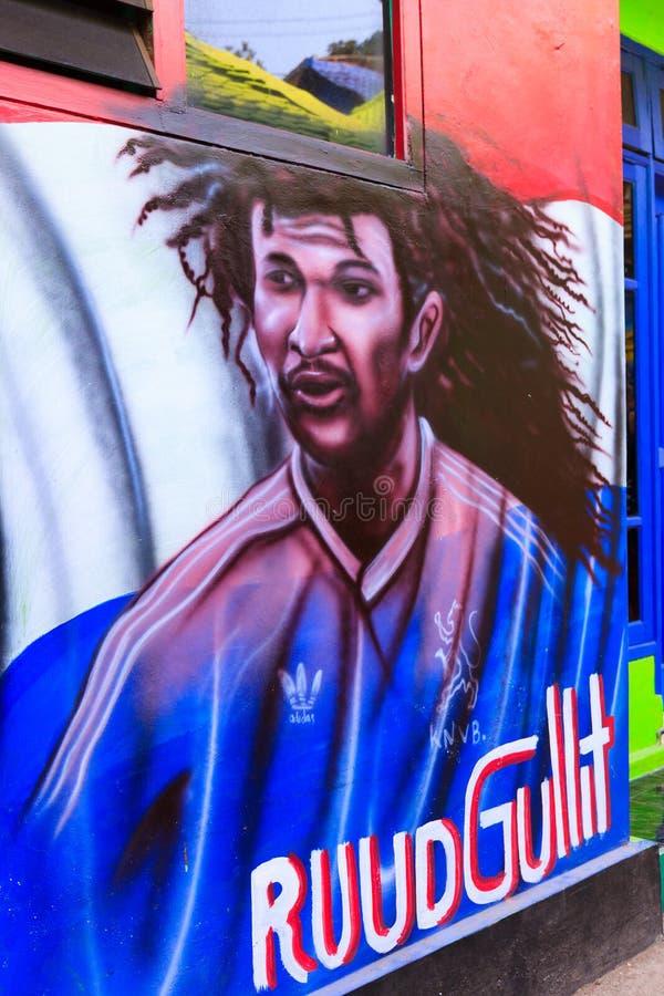 Wrzesień 2018 Street Art w Kampung Warna Warni Jodipan Malang, Indonezja obraz royalty free