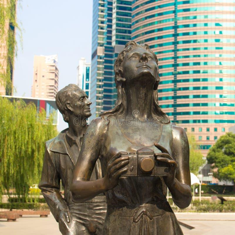 Wrzesień 29, 2014 Szanghaj - rzeźby w parku zdjęcia stock