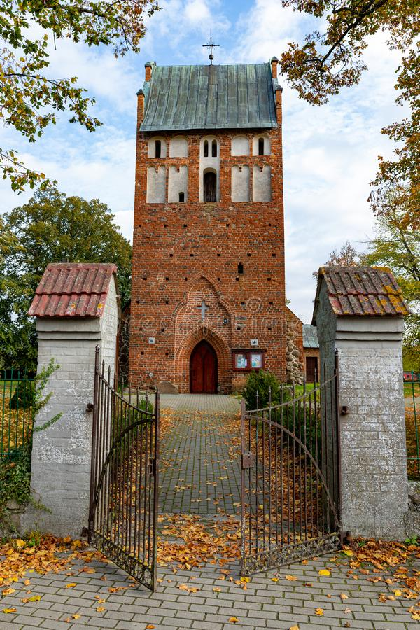 Wrzosowo, zachodniopomorskie / Poland - October, 22, 2019: Christian church in Central Europe. Old brick temple building. Autumn season, ancient, architecture stock images