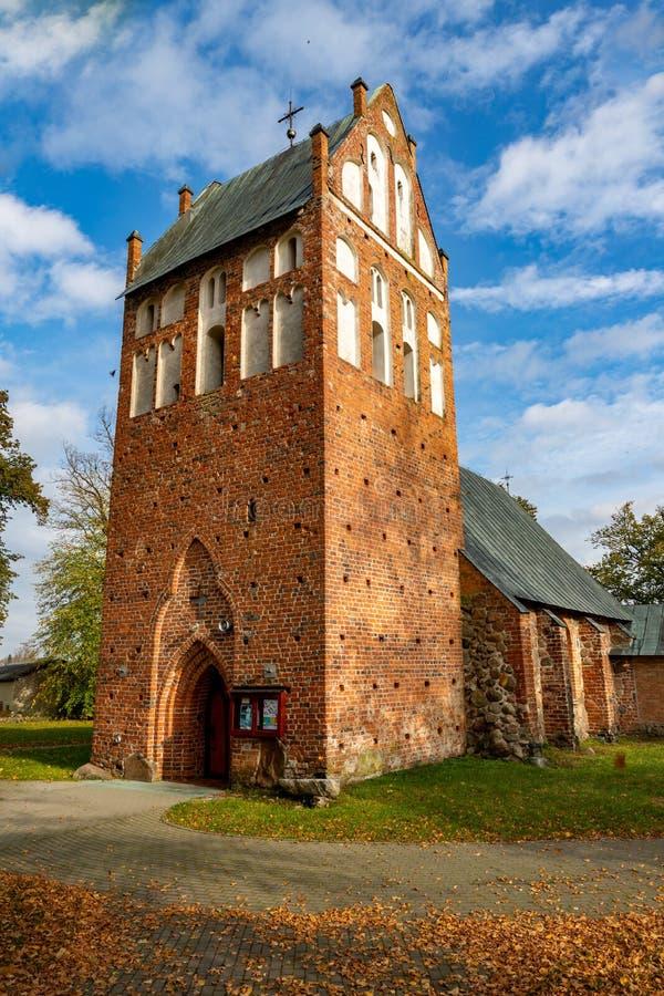 Wrzosowo, zachodniopomorskie / Poland - October, 22, 2019: Christian church in Central Europe. Old brick temple building. Autumn season, ancient, architecture stock photos
