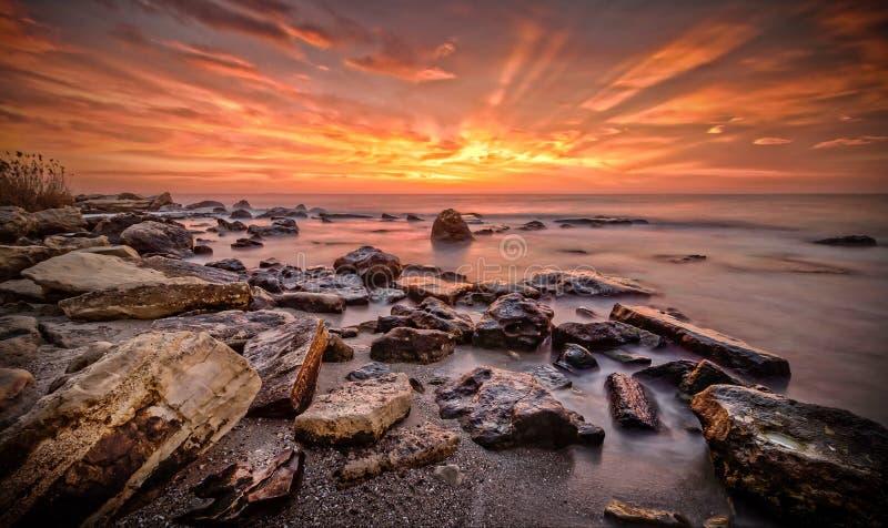 Wschód słońca Nad Fitchossa Varna Bułgaria zdjęcie royalty free