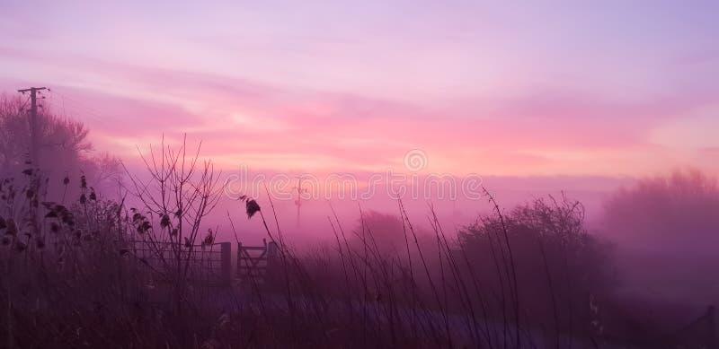 Wschód słońca i świt w Brytyjskiej wsi zdjęcie stock