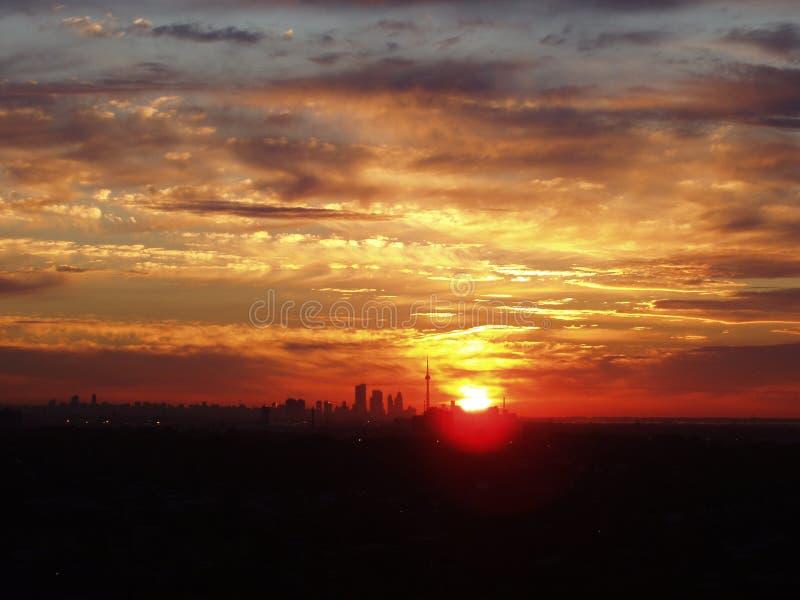 wschód słońca i Toronto obraz stock
