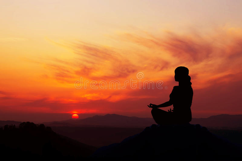 Wschód słońca Joga fotografia royalty free