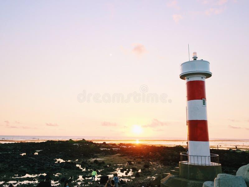 Wschód słońca latarnia morska obrazy royalty free