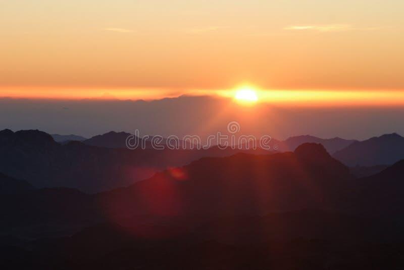 Wschód słońca na góra synaj obraz stock
