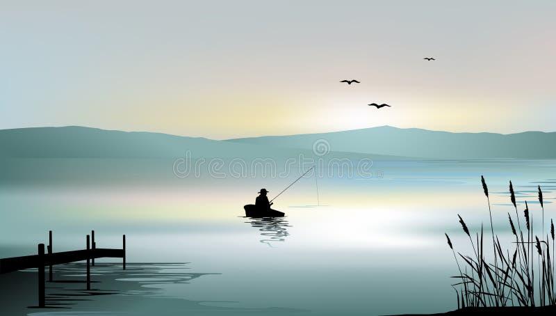 Wschód słońca na jeziorze i rybak łodzi ilustracja wektor