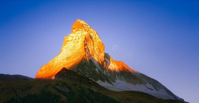 Wschód słońca na Matterhorn fotografia royalty free