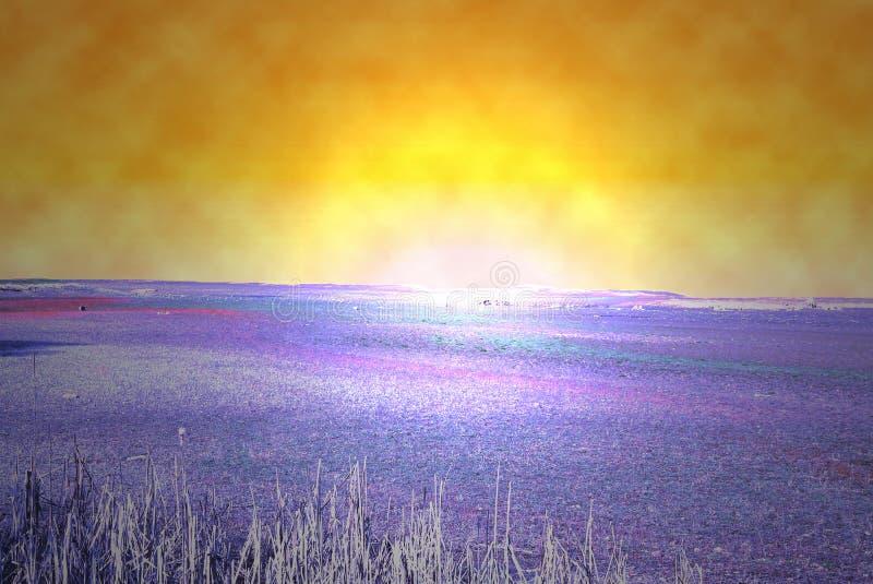Wschód słońca na obcej planecie obraz stock