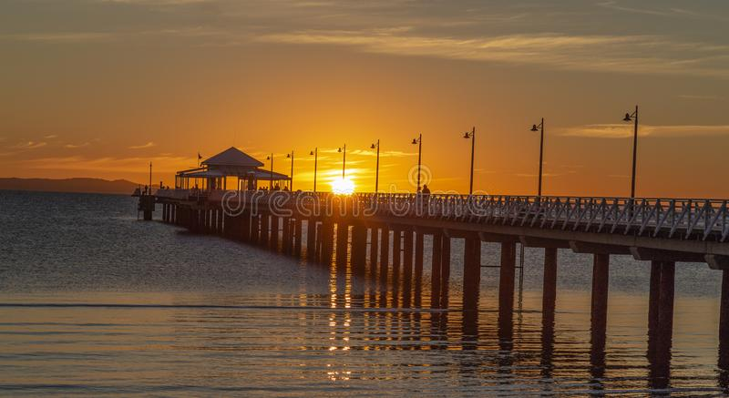 Wschód słońca na Shorncliffe molu Brisbane Queensland zdjęcie stock