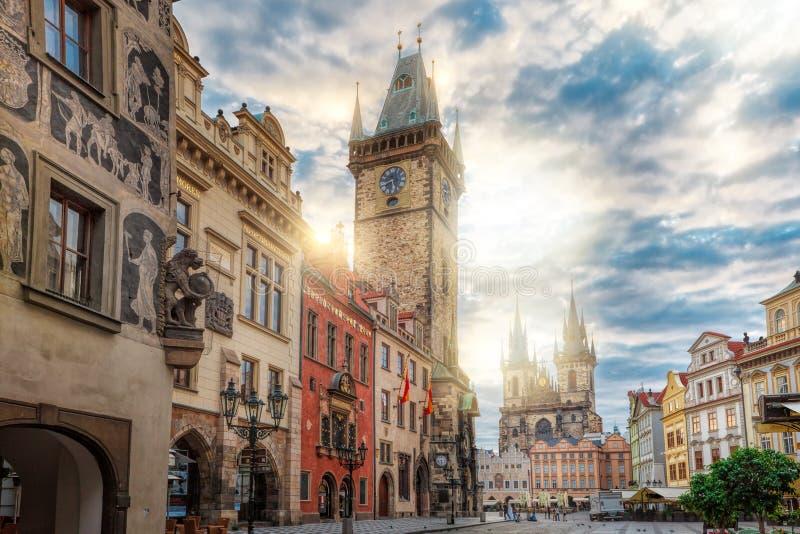 Wschód słońca na Starym rynku Praga obraz stock