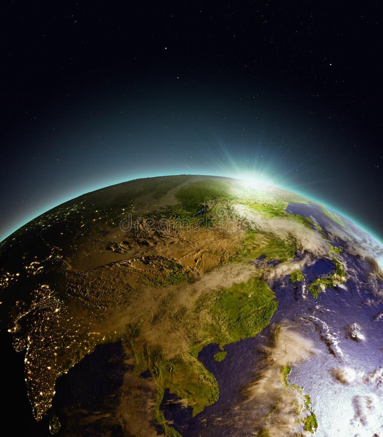 Wschód słońca nad Azja Wschodnia od przestrzeni ilustracji
