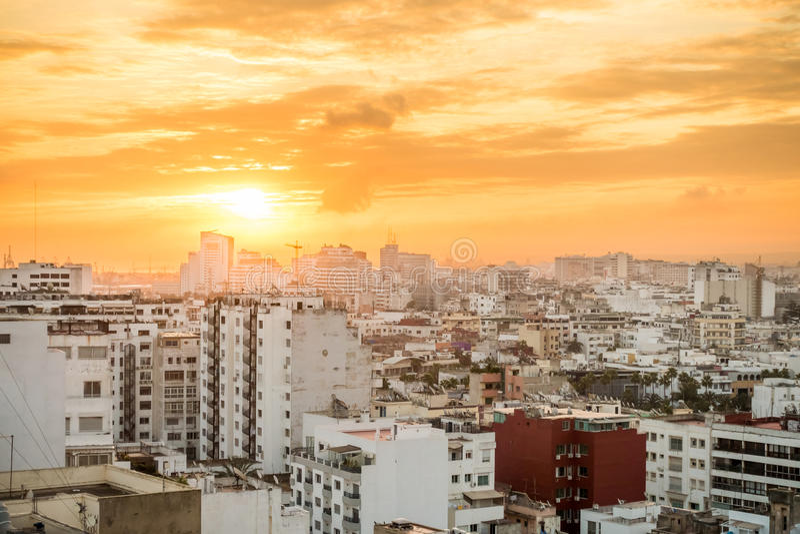 Wschód słońca nad Casablanca, Maroko obraz stock