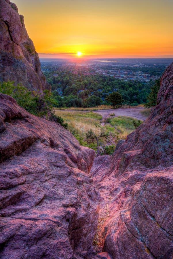Wschód słońca Nad głazem, CO zdjęcie stock