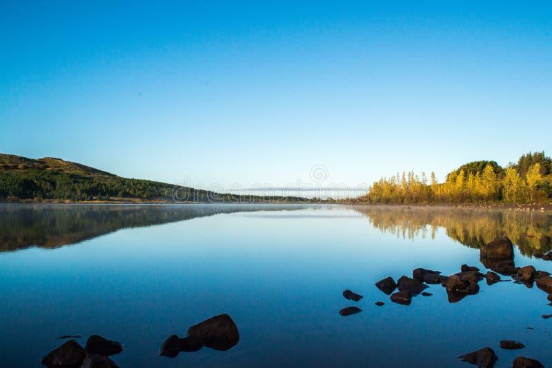 Wschód słońca nad Jeziornym Hvaleyri Iceland obraz royalty free