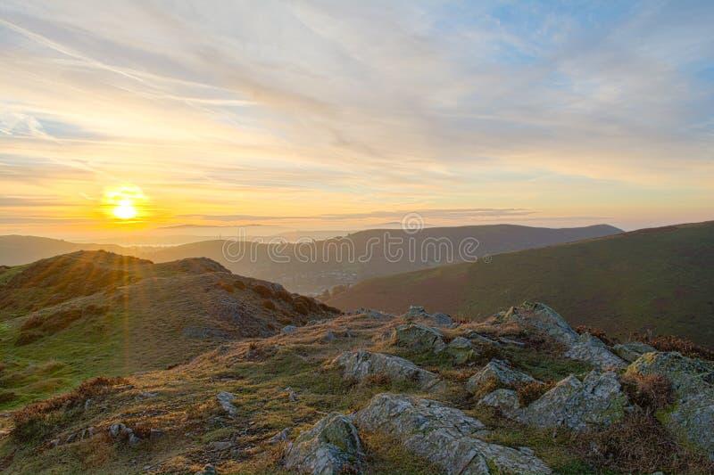 Wschód słońca nad Kościelnym Stretton, Shropshire obrazy royalty free
