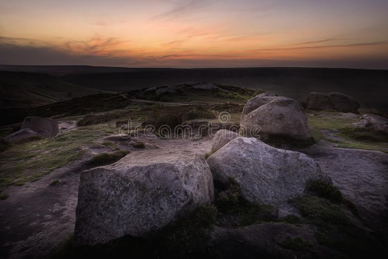 Wschód słońca nad moorland fotografia royalty free