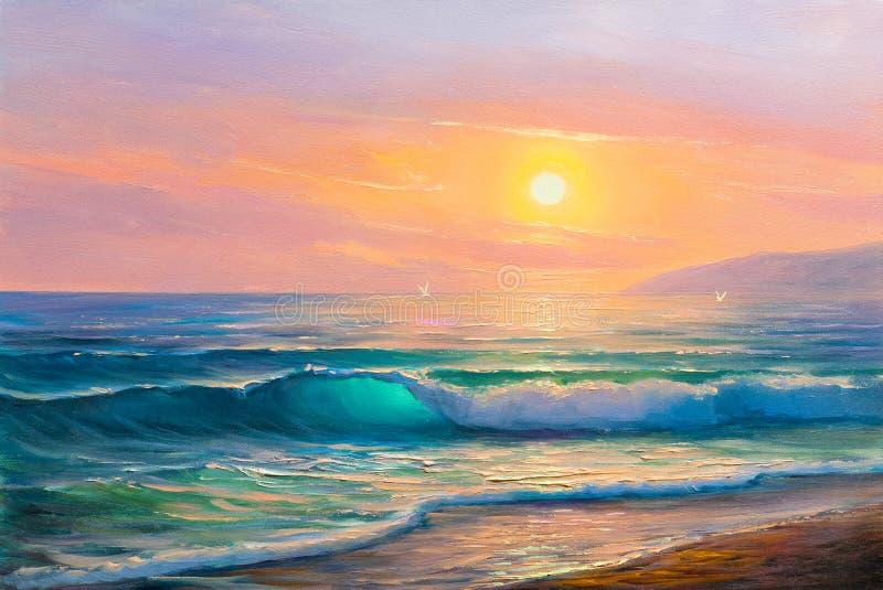 Wschód słońca nad morzem Obrazu seascape zdjęcia stock