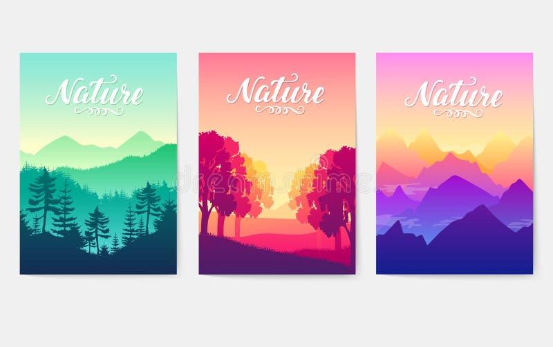 Wschód słońca nad pięknem natura Pasma górskie w słonecznych promieniach położenia słońce uroda best parki dalej ilustracji