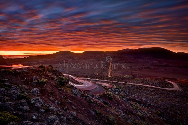 Wschód słońca nad Plaine des Sobólami fotografia stock