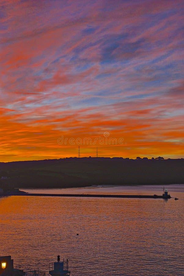 Wschód słońca nad Plymouth dźwiękiem obraz royalty free