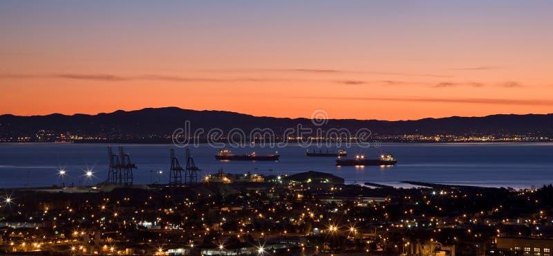 Wschód słońca nad San Fransisco zatoką obraz stock