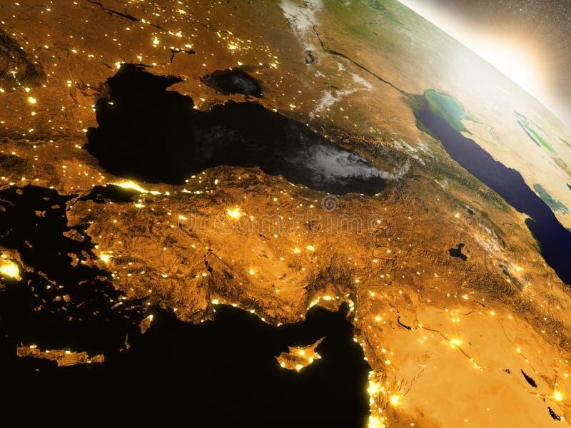 Wschód słońca nad Turcja ilustracja wektor