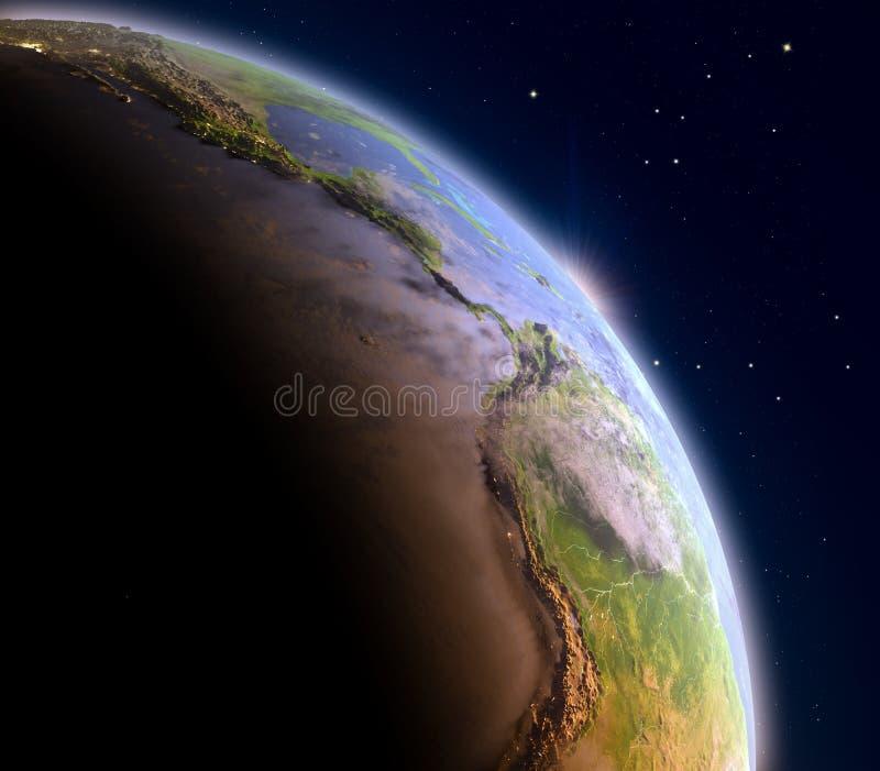 Wschód słońca nad Wschodni Pacyfik royalty ilustracja