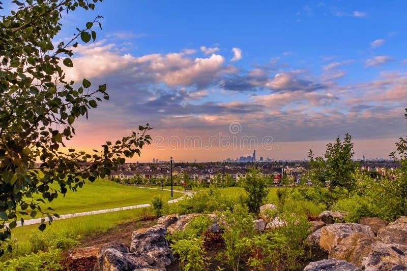 Wschód słońca niebo Nad Griesbach Neighbourhood fotografia royalty free