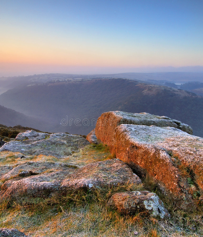 wschód słońca pastelu dartmoor obraz stock