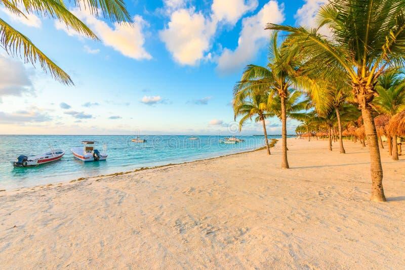 Wschód słońca przy Akumal plażą, raj zatoka przy Riviera majowiem, karaibskim fotografia royalty free