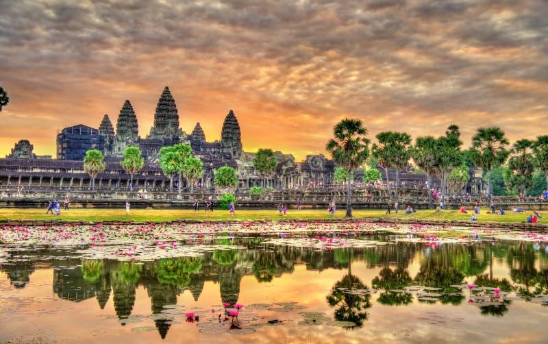 Wschód słońca przy Angkor Wat, UNESCO światowego dziedzictwa miejsce w Kambodża obraz stock