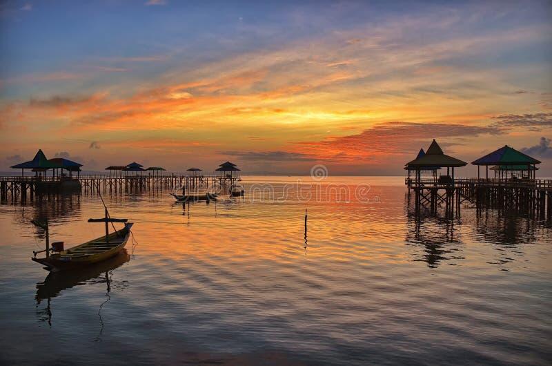 Wschód słońca przy Kenjeran plażą obrazy royalty free