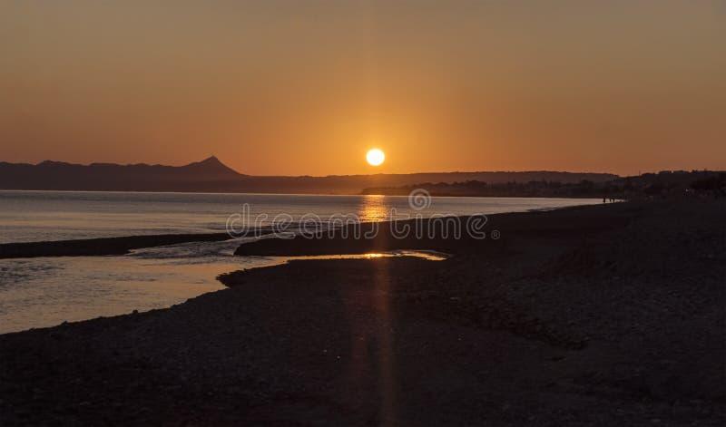 Wschód słońca przy nadmorski Crete obrazy royalty free