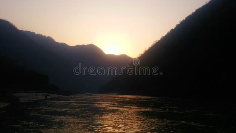 Wschód słońca przy Rishikesh obraz stock