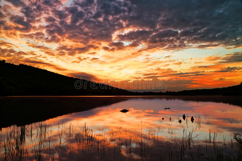 Wschód słońca przy szarańcza stanu Jeziornym parkiem zdjęcie stock