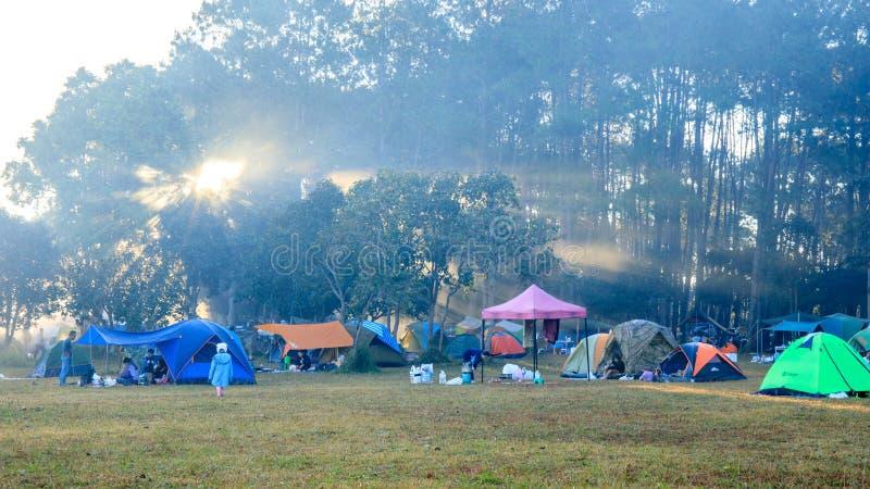 Wschód słońca przy Thung Salaeng Luang parkiem narodowym, ludzie lub podróżnik, jesteśmy campingowym namiotem z mgłowym lub mglis obraz royalty free