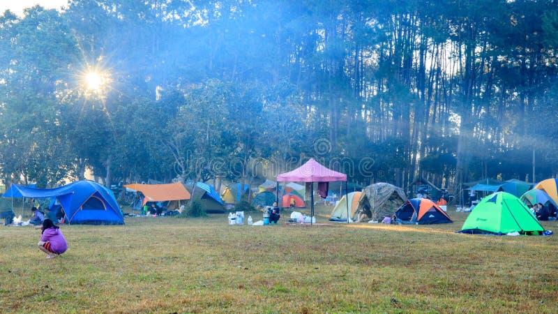 Wschód słońca przy Thung Salaeng Luang parkiem narodowym, ludzie lub podróżnik, jesteśmy campingowym namiotem z mgłowym lub mglis zdjęcia royalty free