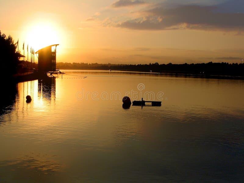 Wschód słońca, Sydney Olimpijski Wioślarski miejsce wydarzenia, Penrith, Nowe południowe walie fotografia royalty free